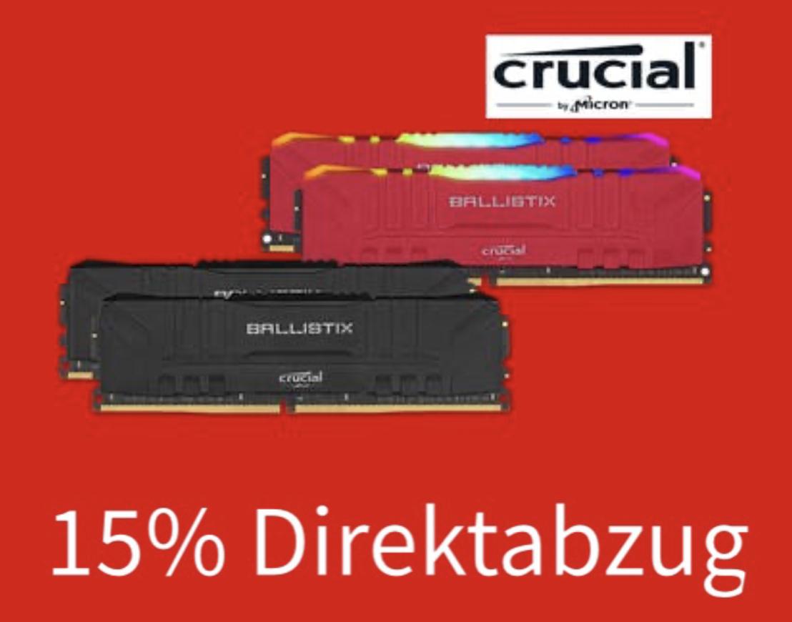 15% Direktabzug auf div. CRUCIAL Arbeitsspeicher - z.B. CRUCIAL Ballistix 16GB DDR4 3600mhz CL16 RGB für 79,54€ - [MediaMarkt u. Saturn]