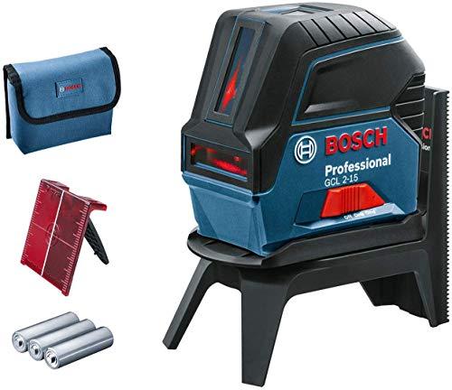 Bosch Professional Kreuzlinienlaser GCL 2-15 (roter Laser, Innenbereich, mit Lotpunkten, Arbeitsbereich: 15 m, Zubehör)