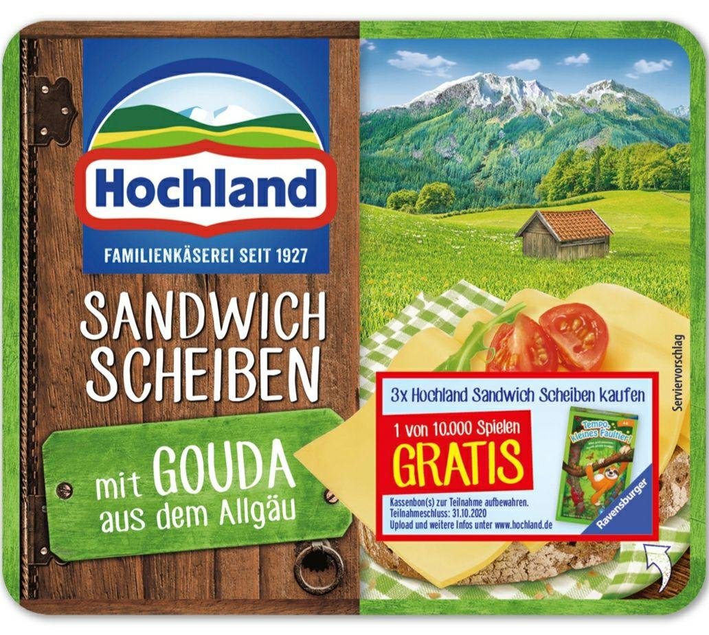 3 Packungen Hochland Sandwich Scheiben kaufen und 1 Gratis Ravensburger Spiel erhalten
