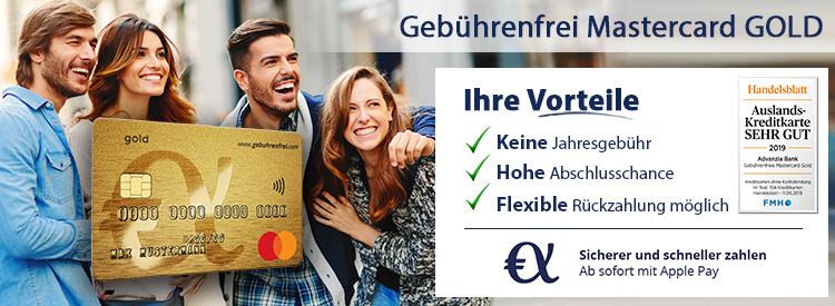 Kostenlose Advanzia Mastercard Gold Kreditkarte mit 50€ Willkommensbonus