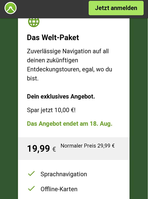 Komoot Welt-Paket für 19,99€ statt 29,99€ (auch Bestandskunden)