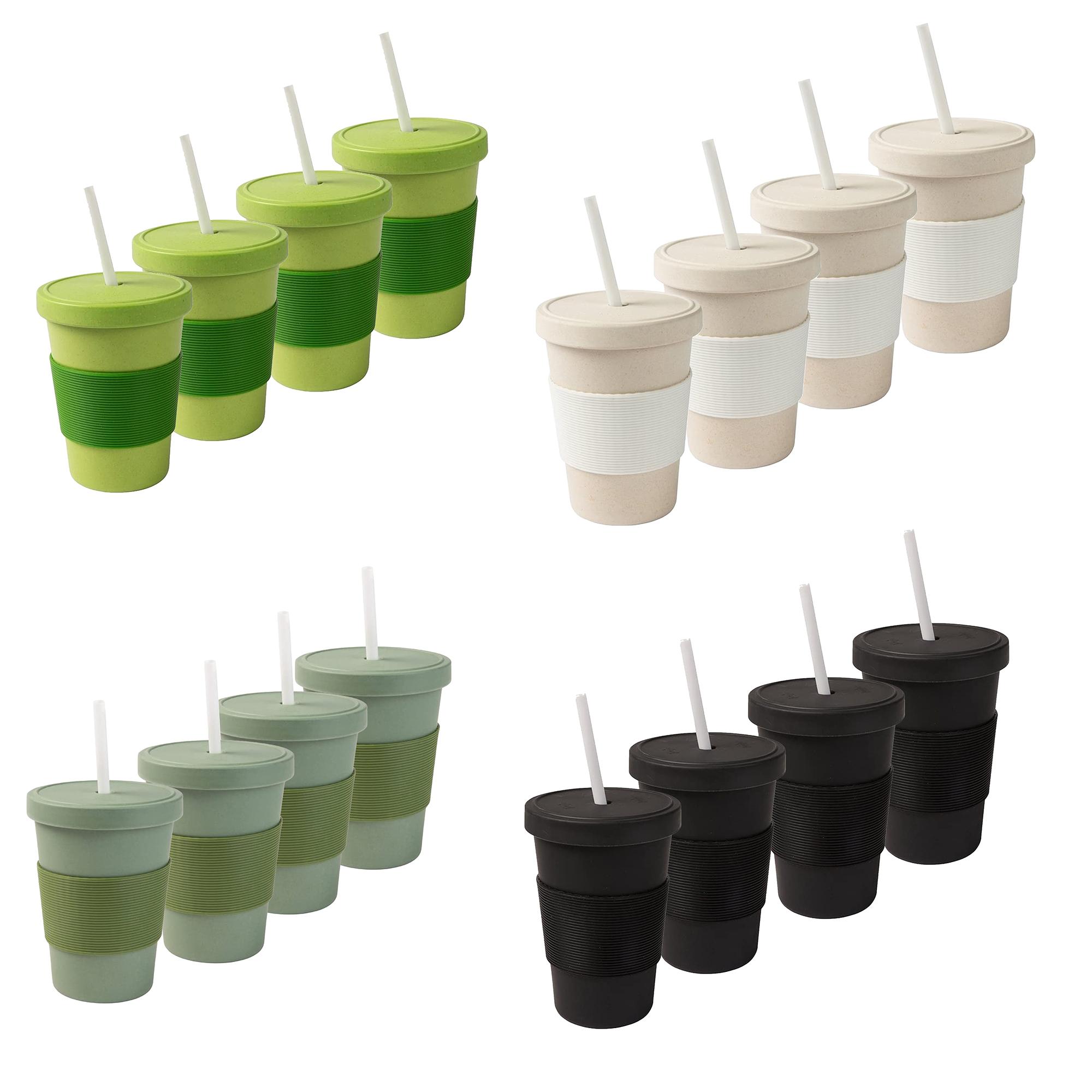 Vier Bambus-Kaffeebecher für 9,99€ inkl. Versand (je 400ml, vier Farben zur Auswahl, Silikon-Griffhülle, spülmaschinengeeignet)
