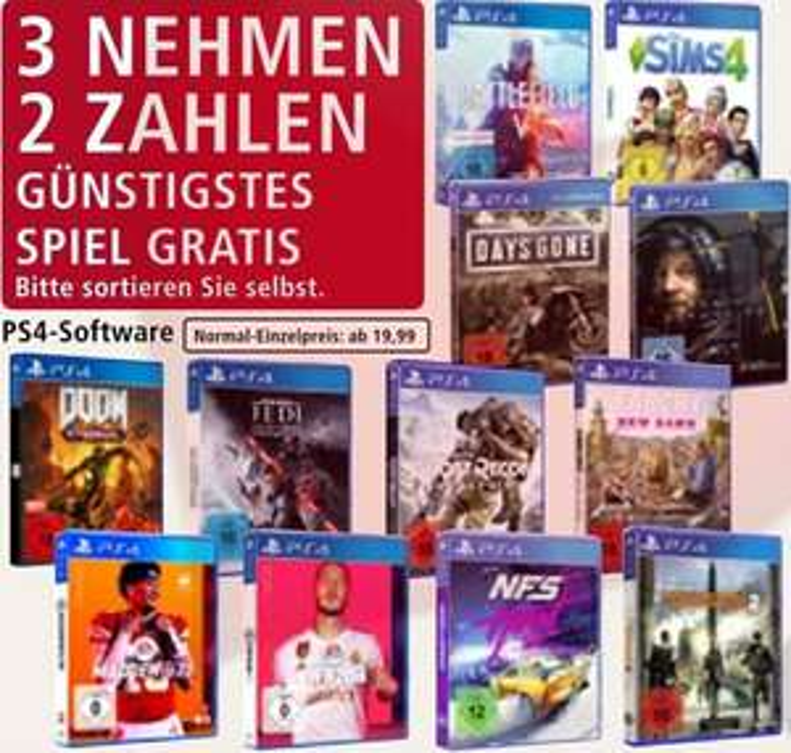 """PlayStation 4 Spiele """"Nimm 3 Zahl 2"""" (z.B. Need for Speed Heat & Star Wars Jedi: Fallen Order ) [Real]"""