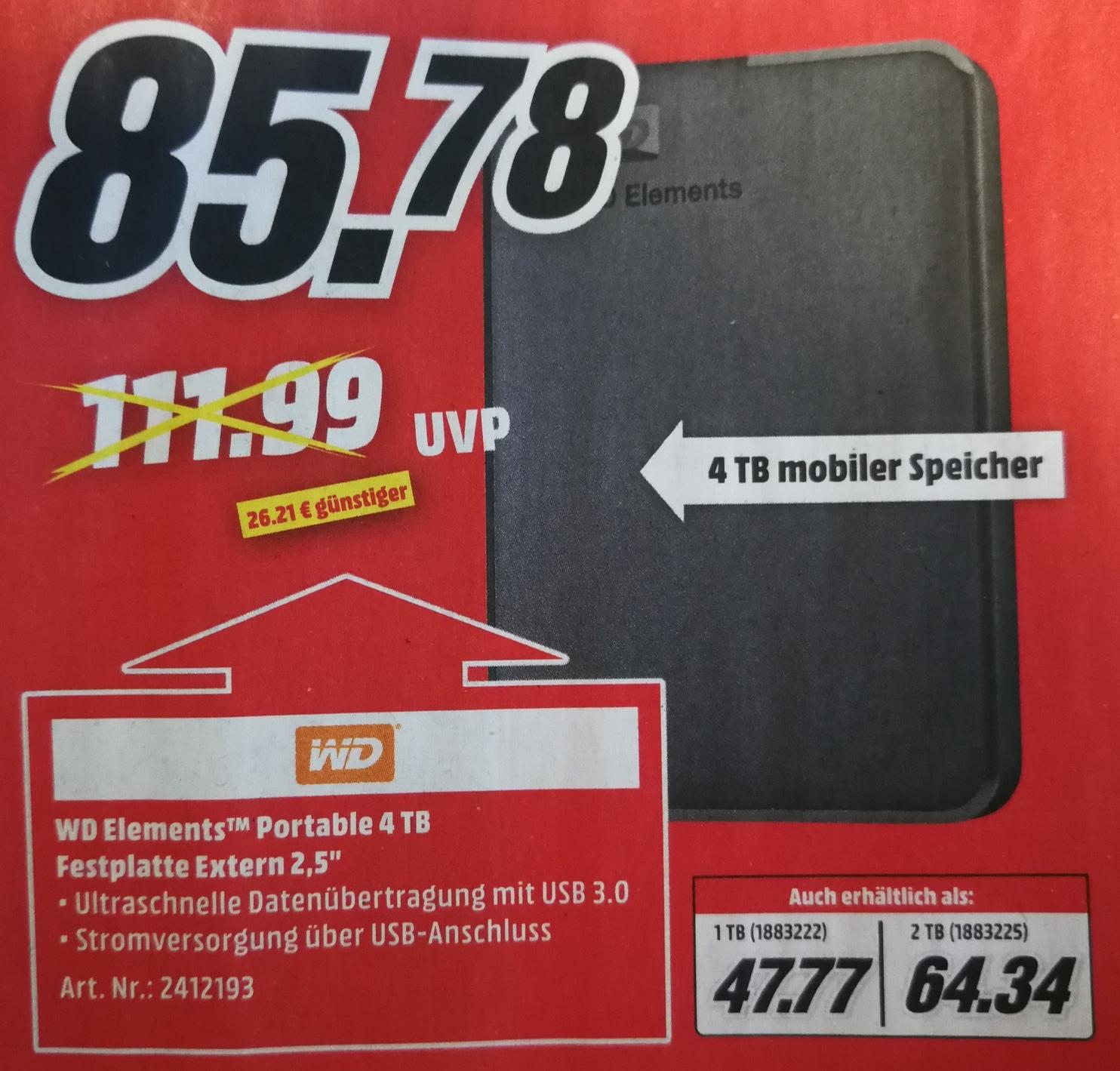 WD Elements Portable 4TB HDD, 2,5 Zoll, externe Festplatte