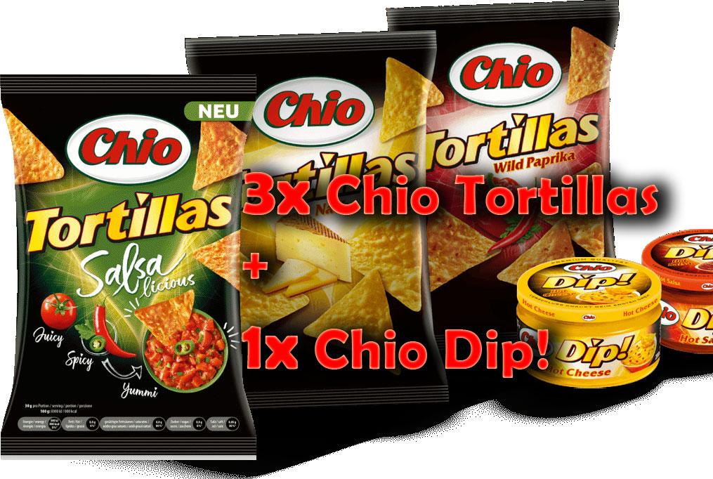 3x Chio Tortilla Chips + 1x Chio Dip in verschiedenen Sorten zum Kombipreis von nur 3,33€