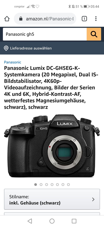 Panasonic Lumix DC-GH5EG-K-Systemkamera (20 Megapixel, Dual IS-Bildstabilisator, 4K60p-
