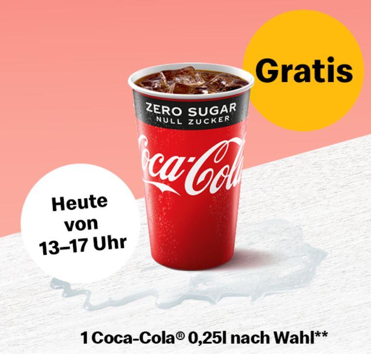 [McDonald's- App] Gratis Coca Cola 0,25l Getränk von 13 bis 17 Uhr am heutigen 5.August
