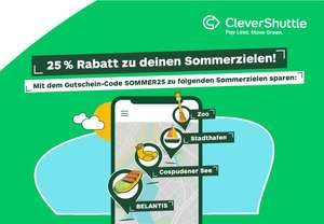 [Leipzig] Clevershuttle 25% Rabatt von und zu Sommerzielen (Cospudner See, Zoo, Stadthafen, Belantis)