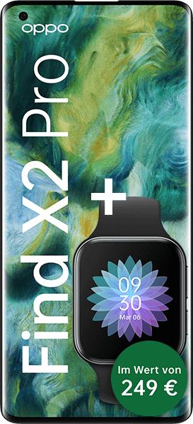 Oppo Find X2 Pro mit Oppo Watch (249€) im O2 PremiumSim (3GB LTE bis 50Mbit, Allnet/SMS) mtl. 33,99€ einm. 49,99€, keine AG