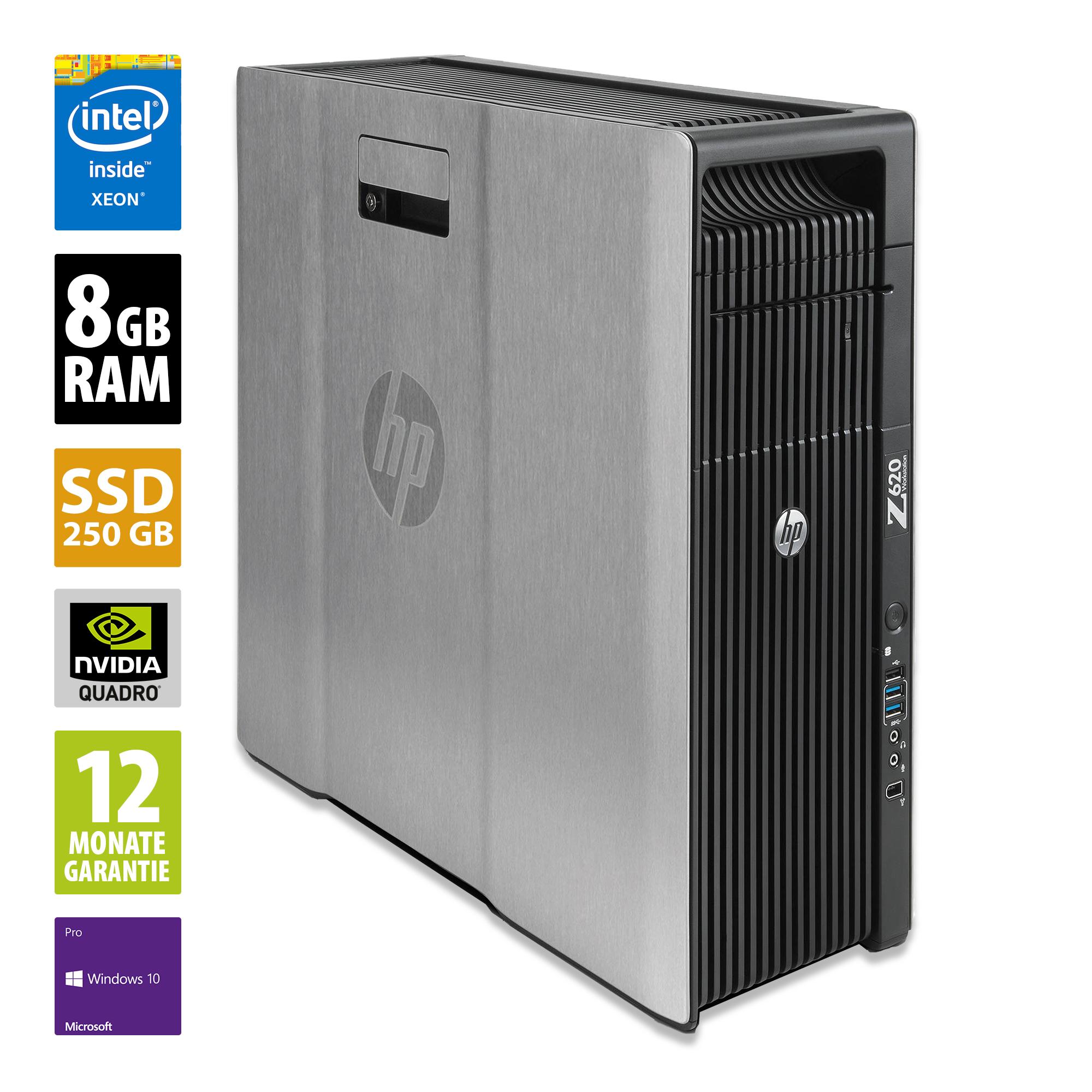 HP Workstation Z620 - Xeon E5-2609 @ 2,4 GHz - 8GB RAM - 250GB SSD - DVD-RW - Nvidia Quadro 2000 - Win10Pro