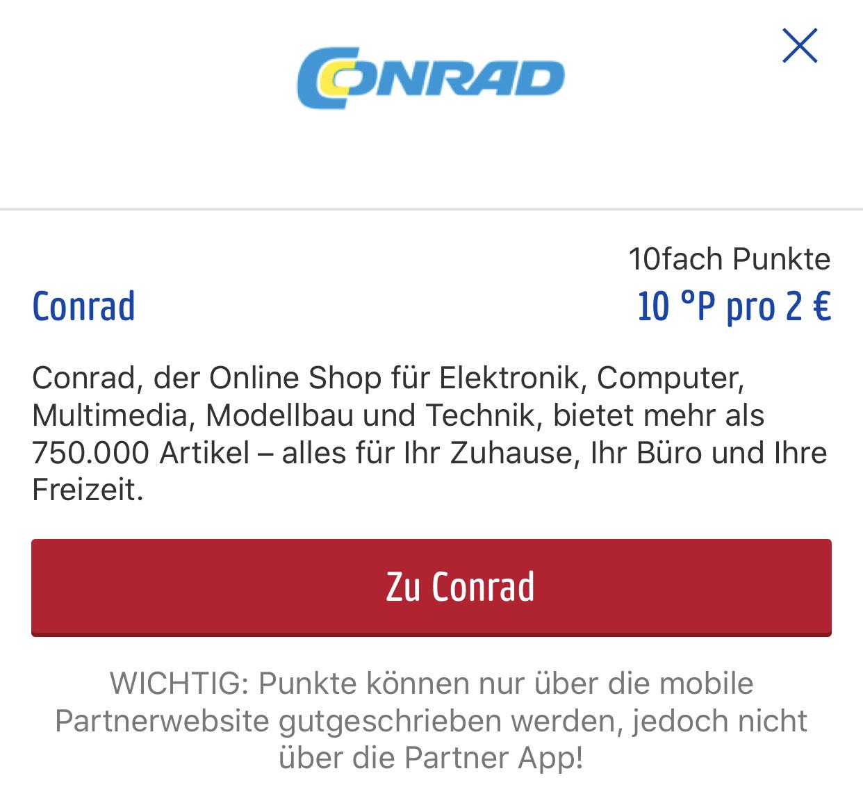 Conrad @Payback 10fach Punkte - kein e-Coupon - unter Shops