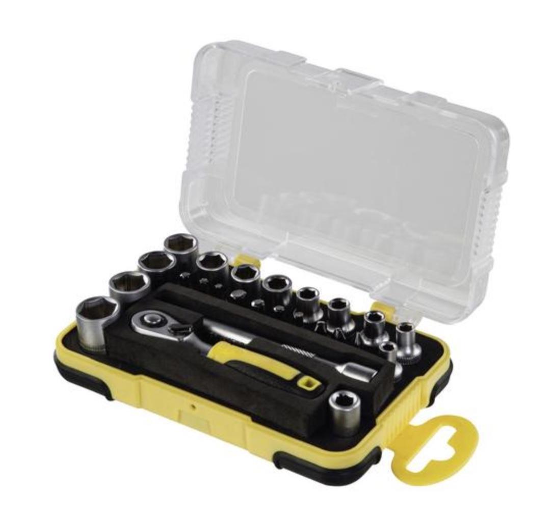 Hama Steckschlüsselsatz Mini Set 25-teilig 1/4 Zoll (Werkzeug Set mit Ratsche, Bits, Adapter, Verlängerung, Aufbewahrungsbox, 1/4 Zoll)