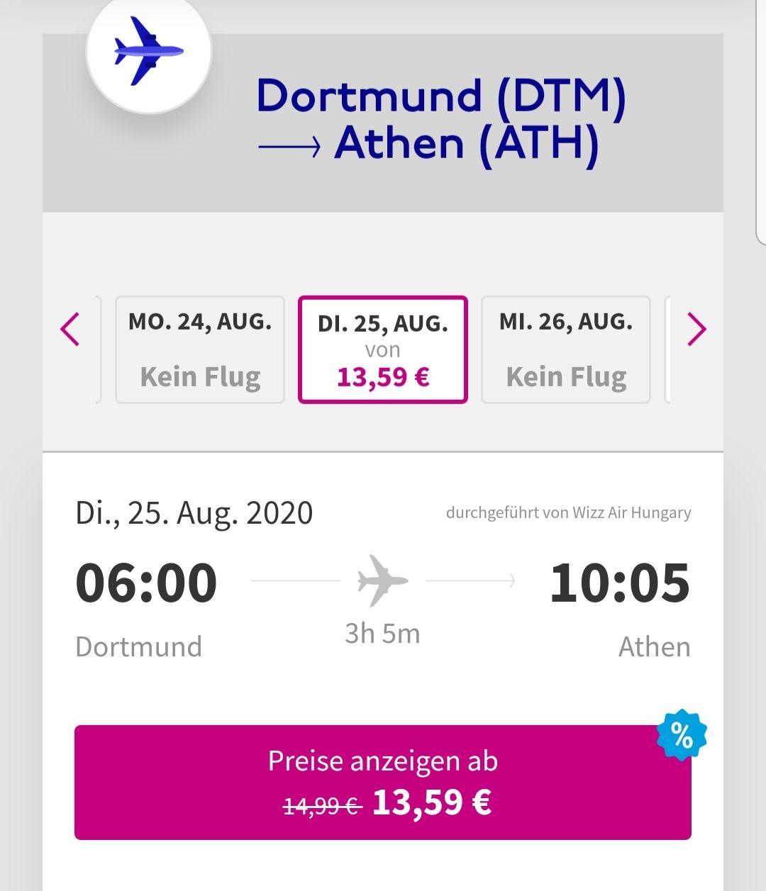 Wizz Air Flug von Dortmund nach Athen