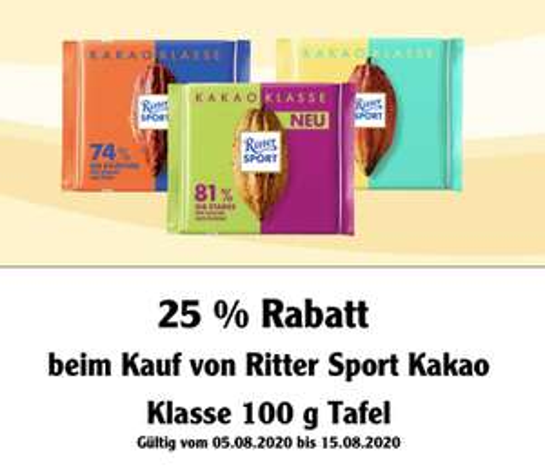[Globus] 25% Coupon auf Ritter Sport Kakao Klasse