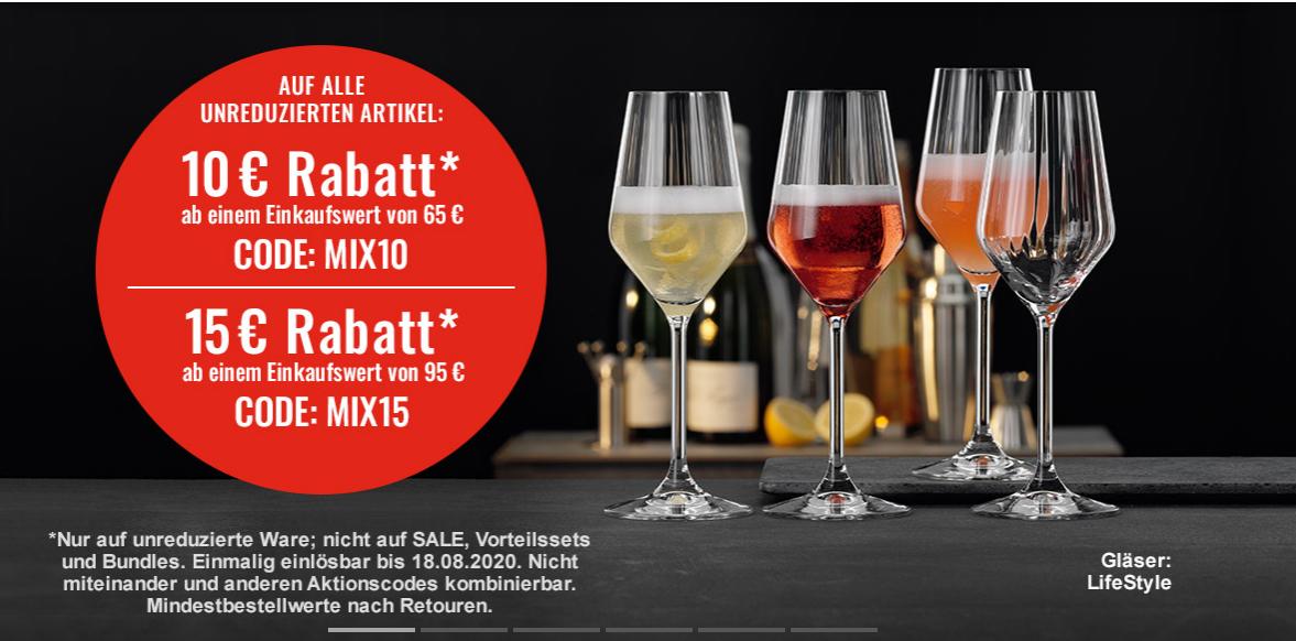 Spiegelau Kristallglass - 10 und 15 Euro Rabatt ab Einkaufswert 65 bzw. 95 Euro