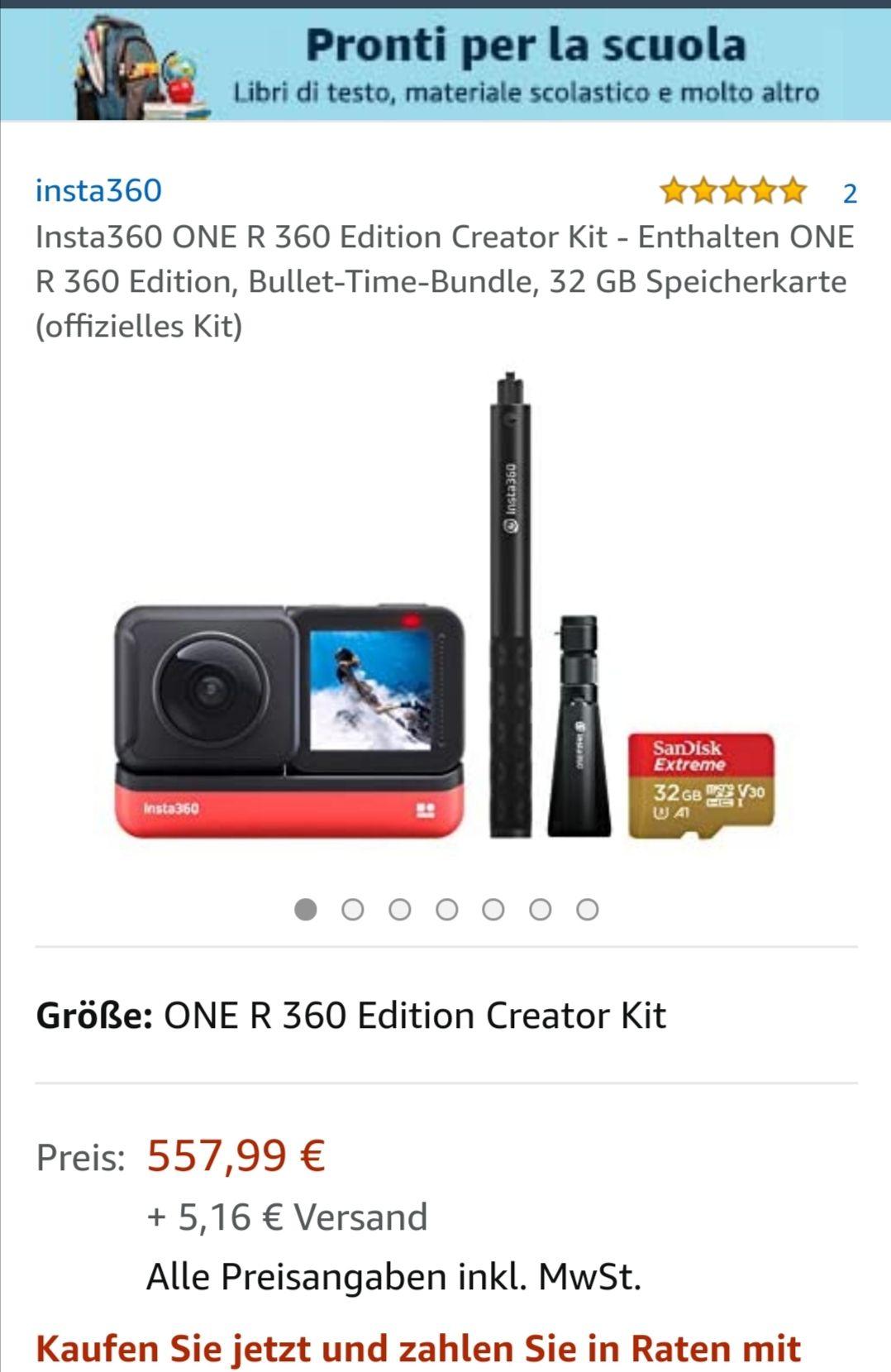Insta360 ONE R Twin Edition Creator Kit - Einschließlich ONE R 360 Edition, Bullet-Time Bundle, 32 GB Speicherkarte (Offizielles Kit)