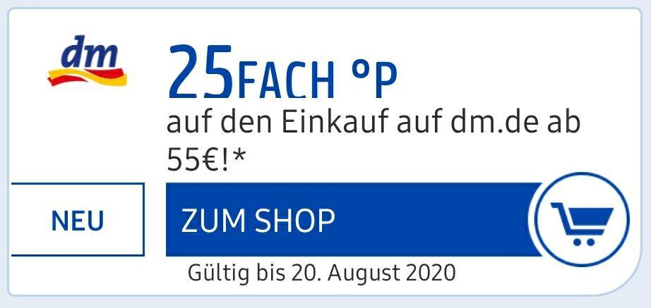 25 Fach Paybackpunkte bei einem Einkauf ab 55€ bei DM nur Online( entspricht 12.5% Ersparnis in Cashback)