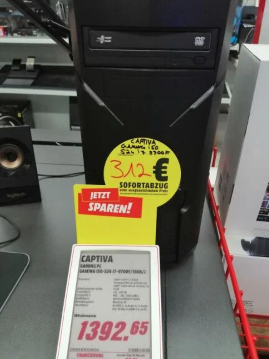 (Lokal mediamarkt Kassel) Captiva gaming pc:rtx 2070s, i7 9700f,16 GB ram