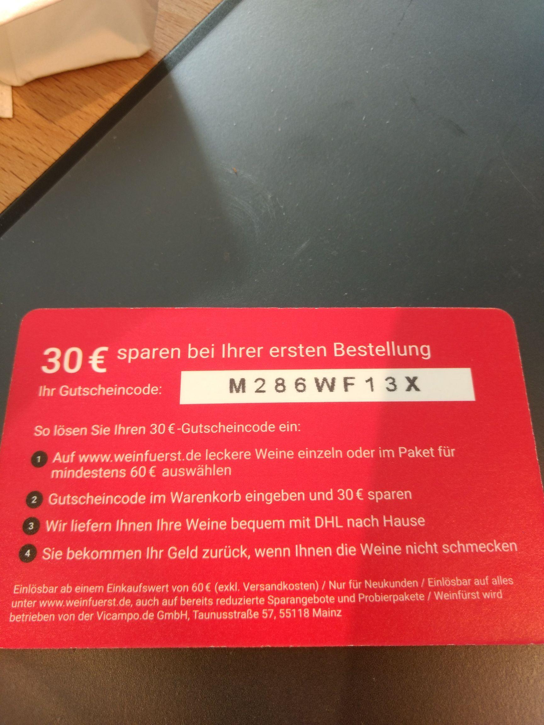 30€ Rabatt ab 60€ Bestellwert bei Weinfürst (nur für Neukunden)