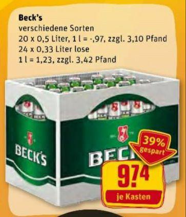 Beck's Bier versch. Sorten 20x0,5L oder 24x0,33 ab 10.08 für 9,74€ (zzgl. Pfand) ( Rewe ) und 30 Fach Paybackpunkte möglich