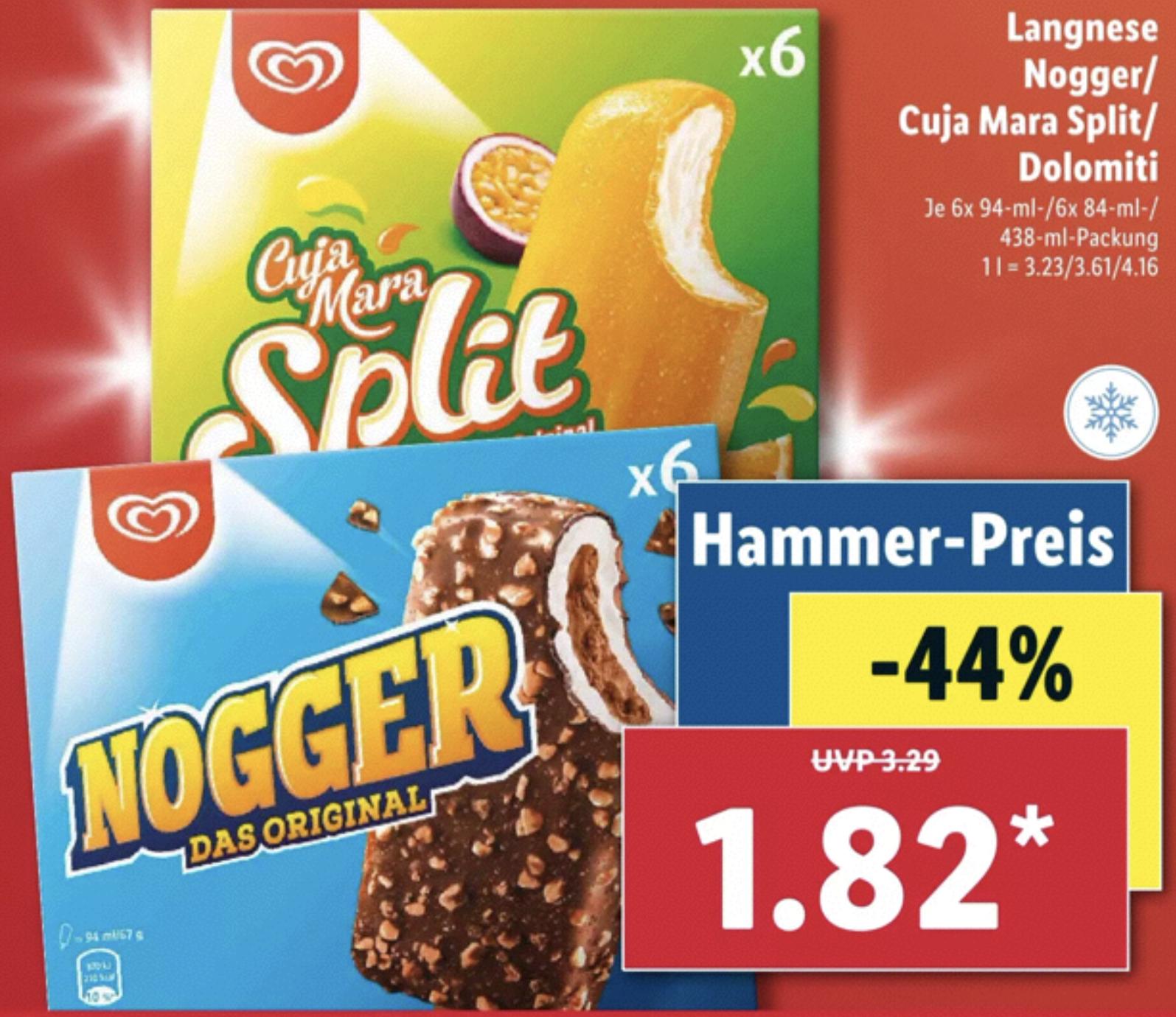 Langnese Nogger 6er, Cuja Mara Split oder Dolomiti für je 1,82€ / W5 Geschirr-Reiniger-Tabs Geschirrspültabs 60 Stück 1,95€ (3,2 Cent Tab)