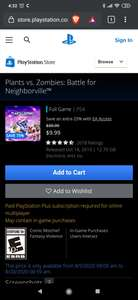 Plants vs. Zombies: Battle for Neighborville (PS4/Playstation 4) (Digital) (US Store)