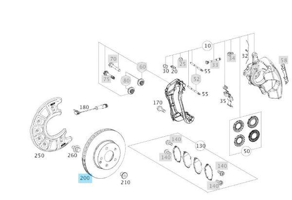 2 original Mercedes-Benz Bremsscheiben vorne C43 C450 GLC43 E43 AMG (A0004212312)