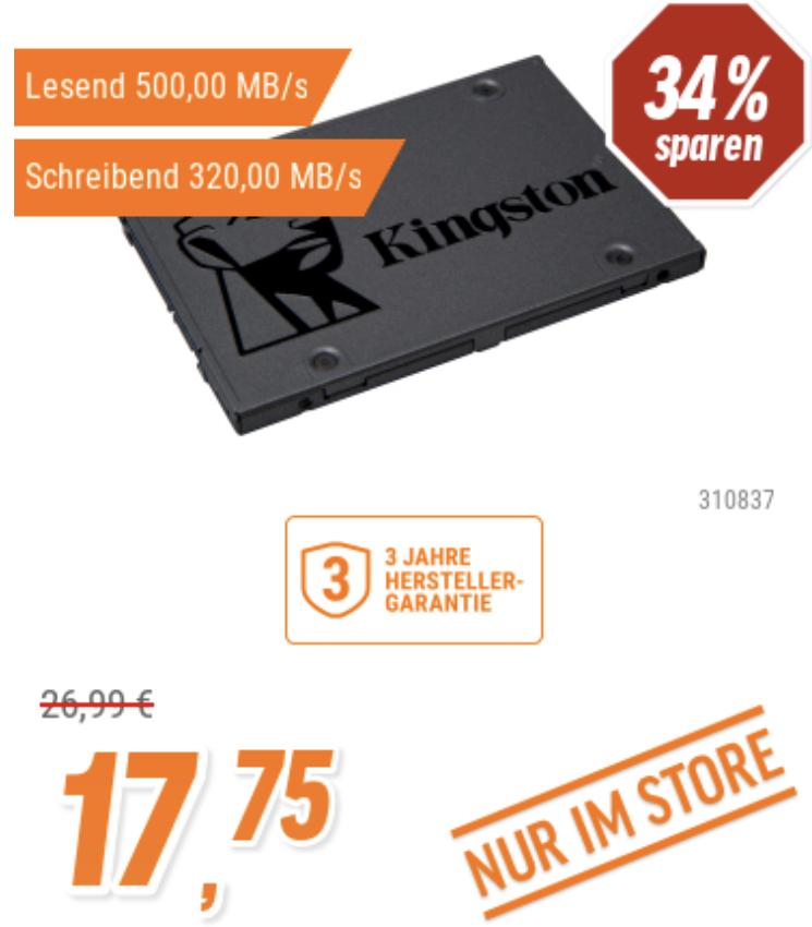 Kingston A400 120GB SSD 2.5 Zoll SATA für 17,75€ oder Crucial BX500 120GB SSD für 17,07€ [Notebooksbilliger Filialen]