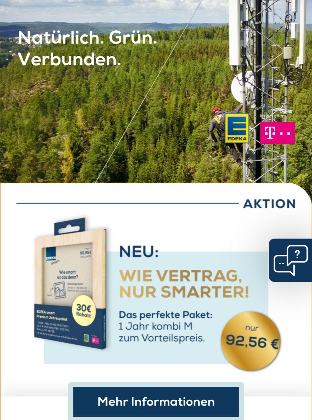 Edeka Jahrespaket Prepaid Kombi M : 2Gb Telekom Netz