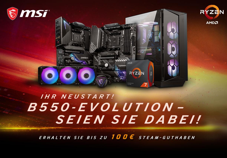 MSI B550 Mainboard + Ryzen Combo + bis zu 100€ Steam-Guthaben (z.B. AMD Ryzen 5 3600 + B550 Gaming Plus + 50€ Steam)