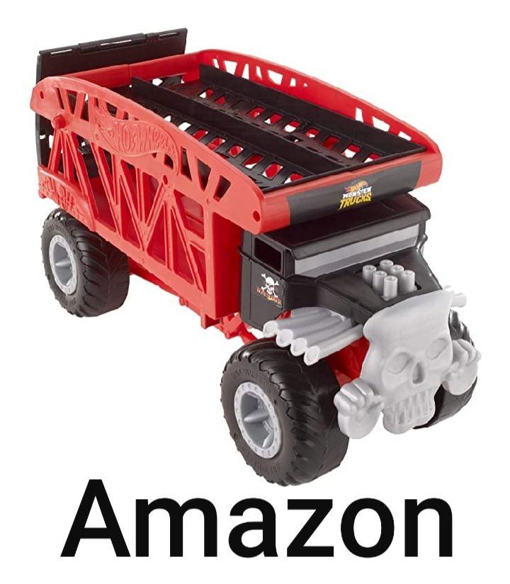 Hot Wheels FYK13 - Monster Truck Transporter mit Platz für 12 Spielzeugautos, Spielzeug ab 3 Jahren, Amazon