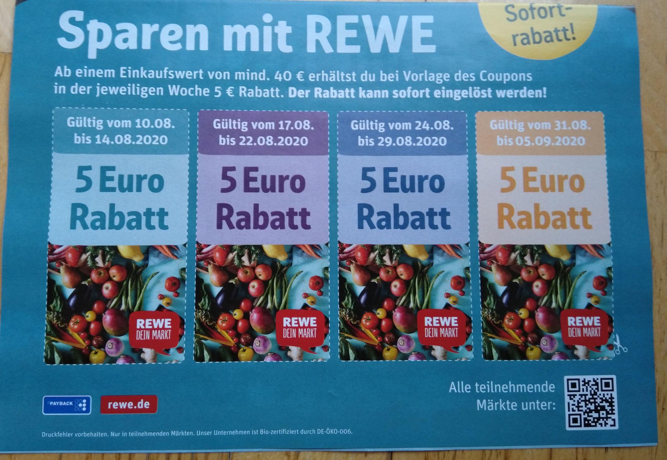 [Offline] Lokal - Rewe Gutschein 5€ für 40€ Einkauf - Nur in teilnehmenden Märkten