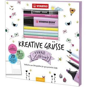 Stabilo Hand Lettering-Set Kreative Grüße inkl. 11 Stifte, 20 Postkarten & 20 Lettering-Motive für 5,99€ (Müller Abholung)