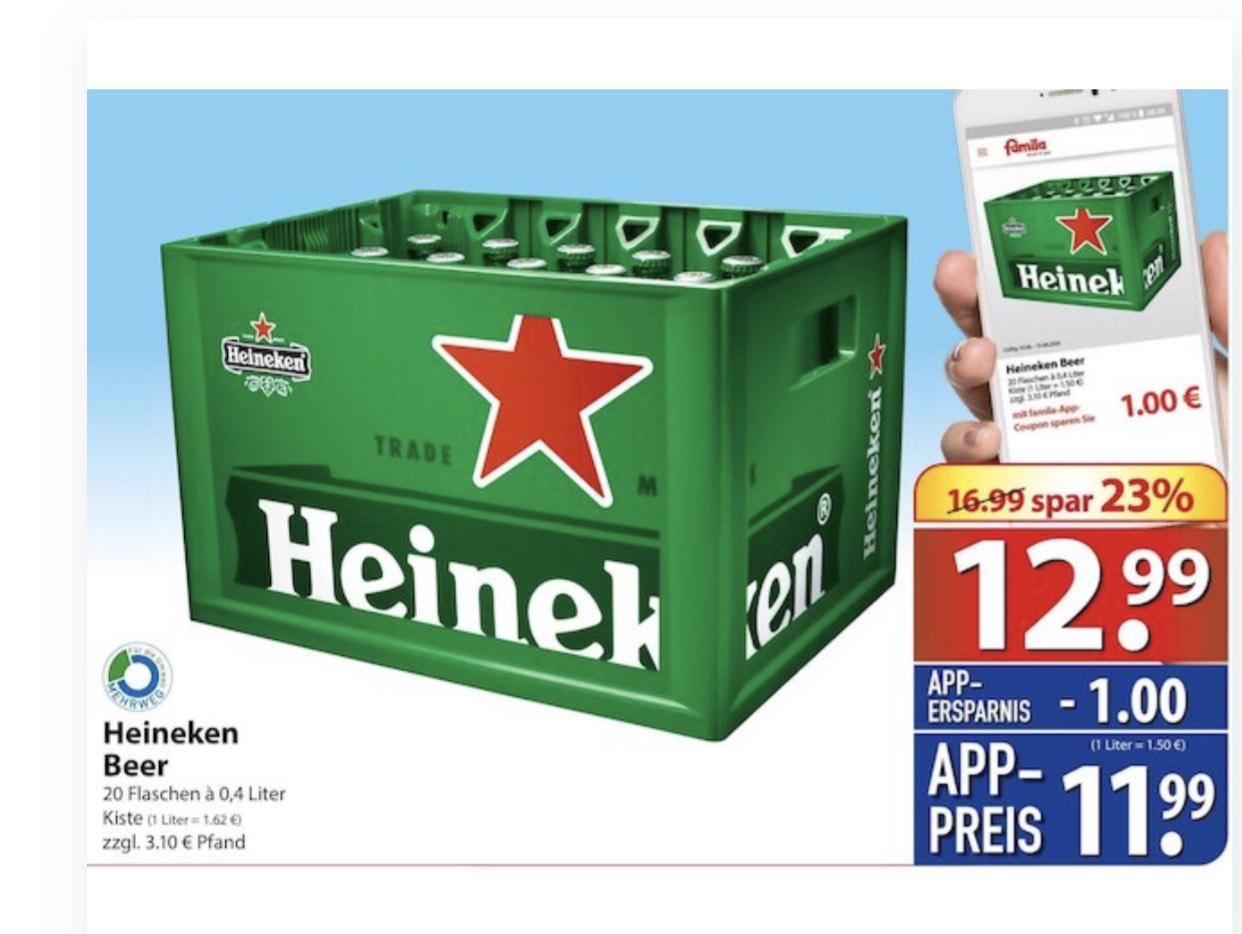 [Famila Nordost] Kiste Heineken Bier 20x0.4l für 11.99€ zzgl. 3.10€ Pfand