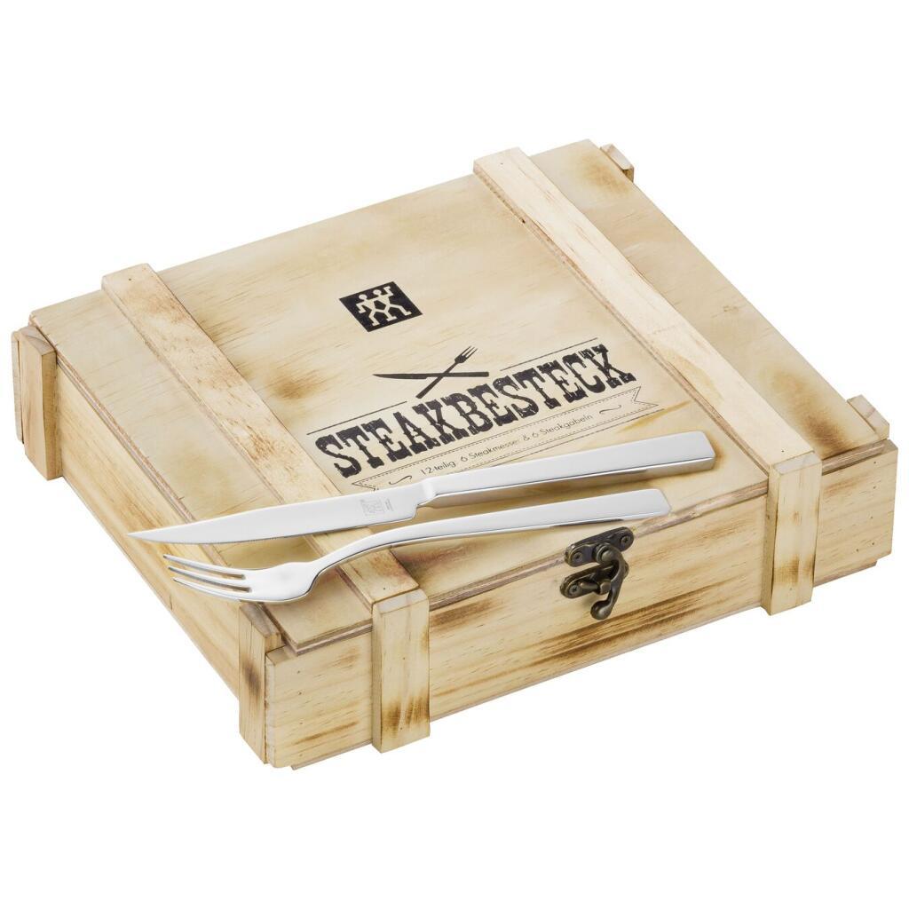 ZWILLING 12-teiliges Steakbesteckset in rustikaler Holzbox mit Sovendus GS für 23,05€ und mit CB für 20,33€ inkl. Versand