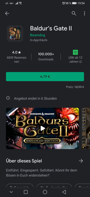 Baldur's Gate II im Google Play Store für 4,79€