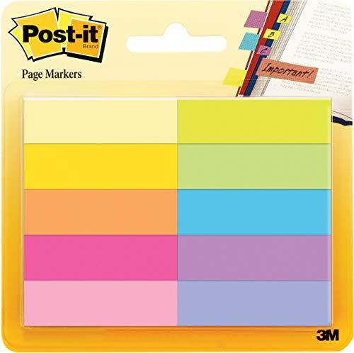 """Post-it """"Page Marker"""" Haftstreifen aus Papier – Schmale Klebezettel (12,7 x 44,4 mm) 10 farbige Blöcke à 50 Blatt"""