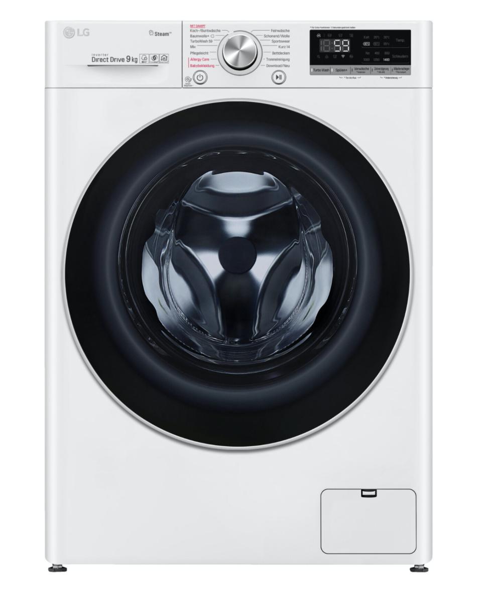LG F4WV609S1 Waschmaschine ( 1400 U/min, 60cm breit, AI Direct Drive™,9 kg, A+++, Tiefenreinigung mit Dampf, weiß