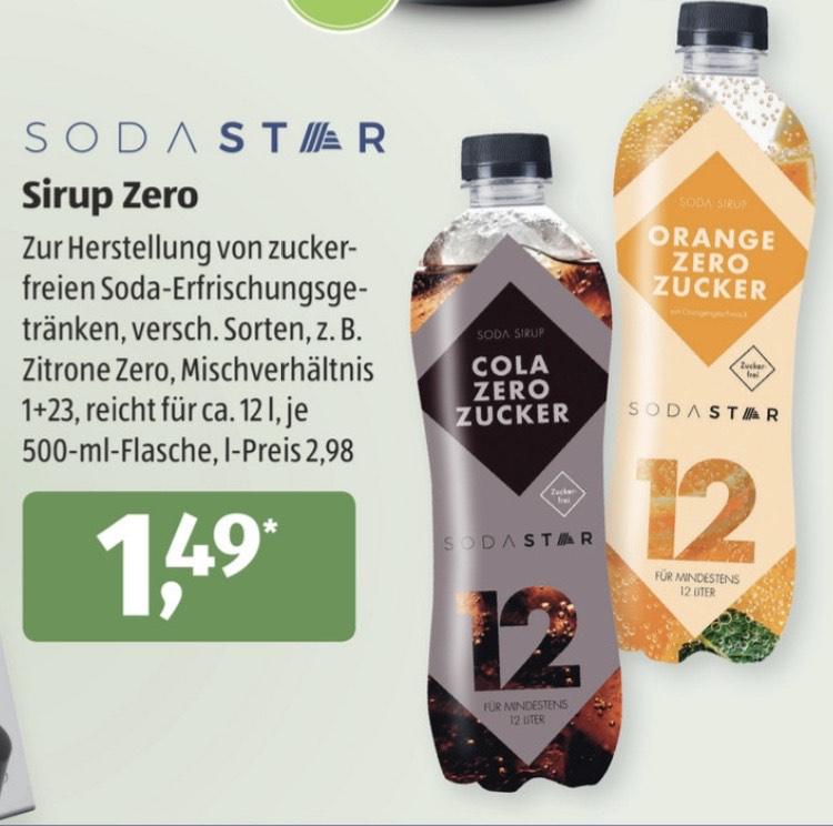 [Aldi Süd] Sodastar Sirup ZERO, 500ml (12liter) 1,45€ und SodaStar (Sammeldeal) Angebote