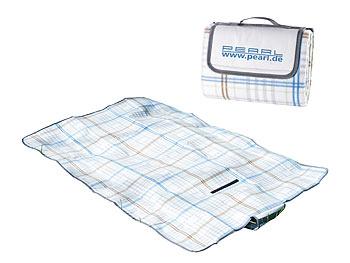 [PEARL] Fleece-Picknick-Decke mit wasserabweisender Unterseite, 140 x 100 cm