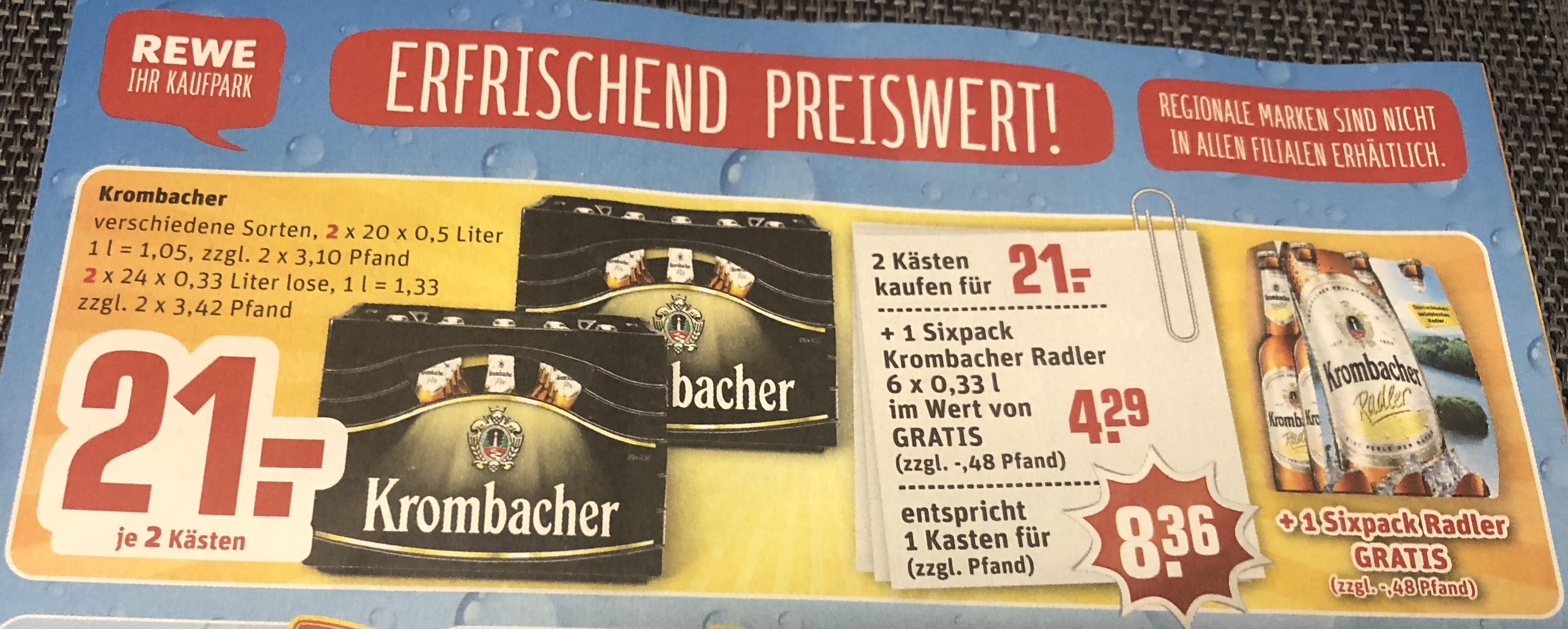 2 Kästen Krombacher + 1 Sixpack Radler Gratis für 21€