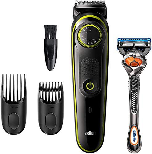 Braun Barttrimmer BT3241 Trimmer und Haarschneider, 39 Längeneinstellungen, inkl. Gillette Fusion 5 ProGlide Rasierer