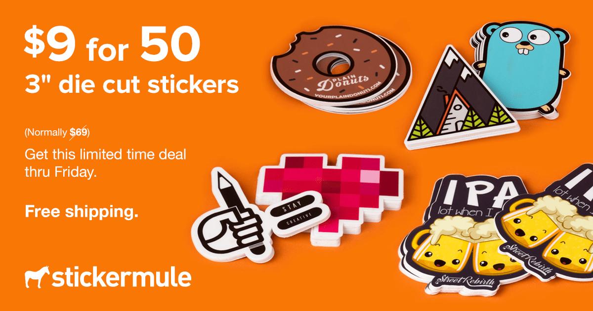 [Stickermule] 50 individualisierte die cut Sticker für 8€
