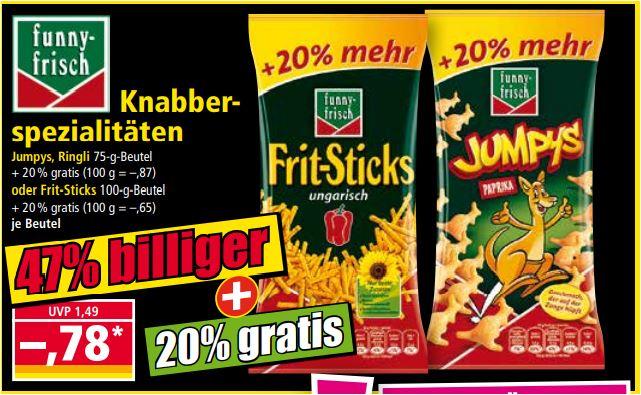 Jumpys, Ringli oder Frit-Sticks mit 20 % mehr Inhalt für 78 Cent [Norma]