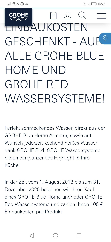100 € Cashback auf die Montage aller Grohe Blue und Grohe Red Systeme bis zum 31.12