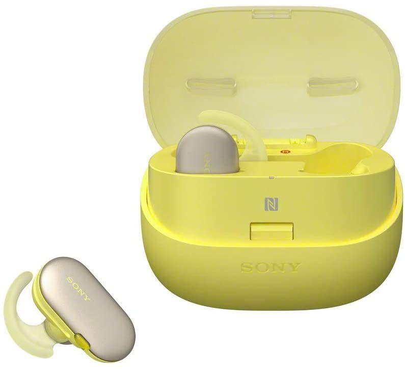 Sony WF-SP900 True Wireless Sport Kopfhörer (kabellos, IPX8 wasserdicht, Salzwassergeschützt, Bluetooth, 4GB Speicher) gelb [Amazon]