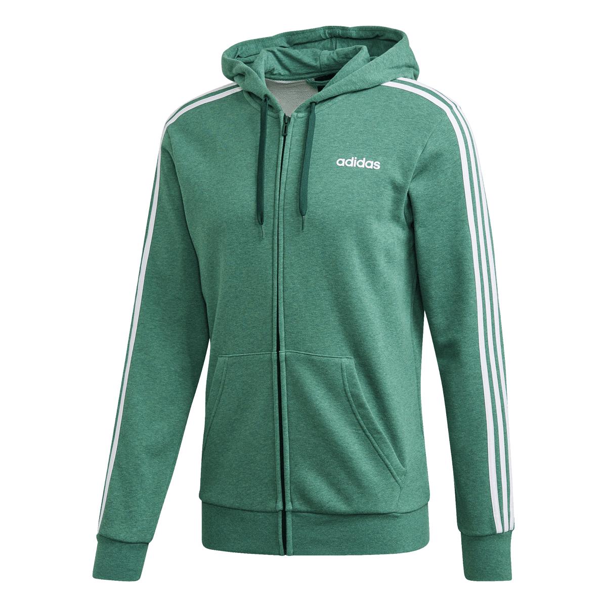 adidas Essentials 3S FZ Kapuzenjacke in grün / weiß (Gr. S - XXL)