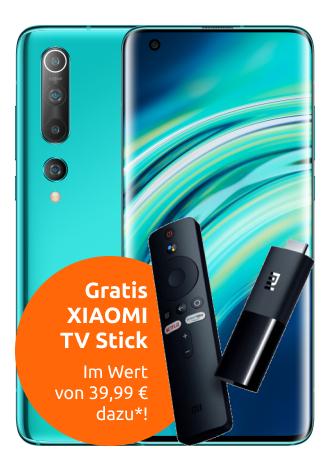 Xiaomi Mi 10 (128GB) + Mi TV Stick für 4,95€ Zuzahlung mit mobilcom-debitel Telekom (18GB LTE) für 29,99€ / Monat