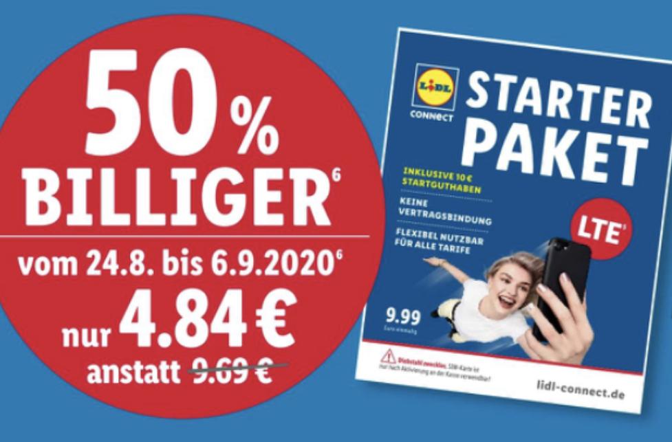 Lidl: 50% Rabatt auf Lidl Connect Starterpakete inkl. 10€ Startguthaben - Online u. in den Filialen