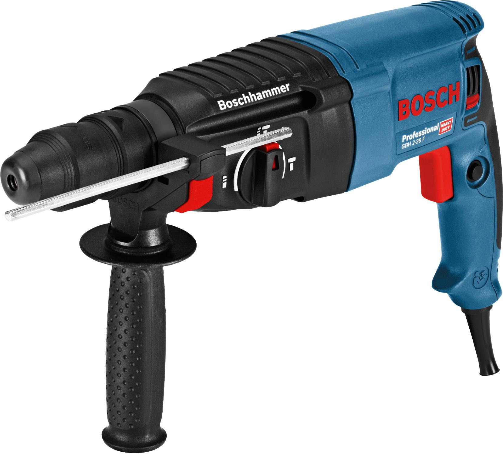 Bosch GBH 2-26 F Professional Bohrhammer (2 x Bohrersets 3-teilig 6, 8, 10 mm, im L-Case, Wechselfutter, Zusatzhandgriff, Tiefenanschlag)